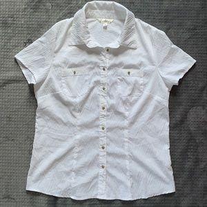 ‼️ Crisp White Textured Button Up